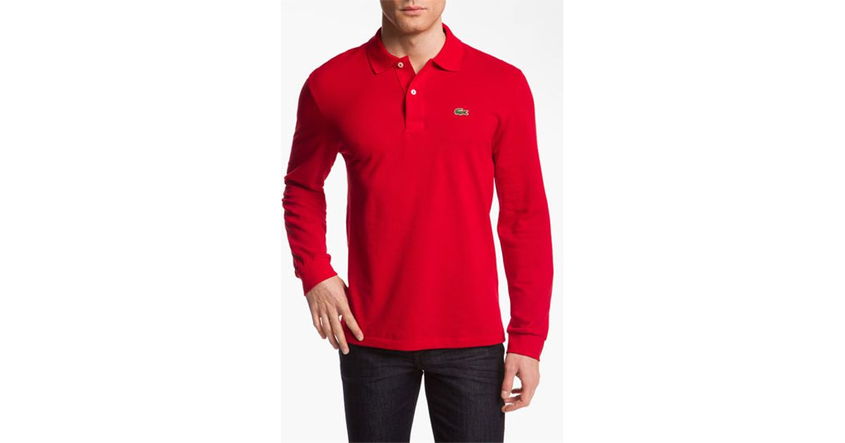 cc5c19112312 Lyst - Lacoste Long Sleeve Pique Polo in Red for Men
