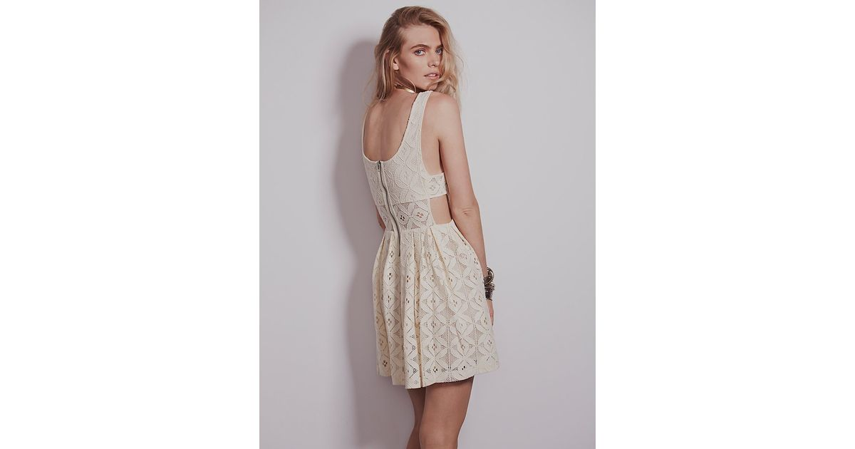 dd27fa391d5 Lyst - Free People Womens Sweet Jane Geo Lace Dress in Natural