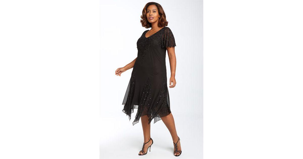 Lyst J Kara Beaded Godet Dress In Black