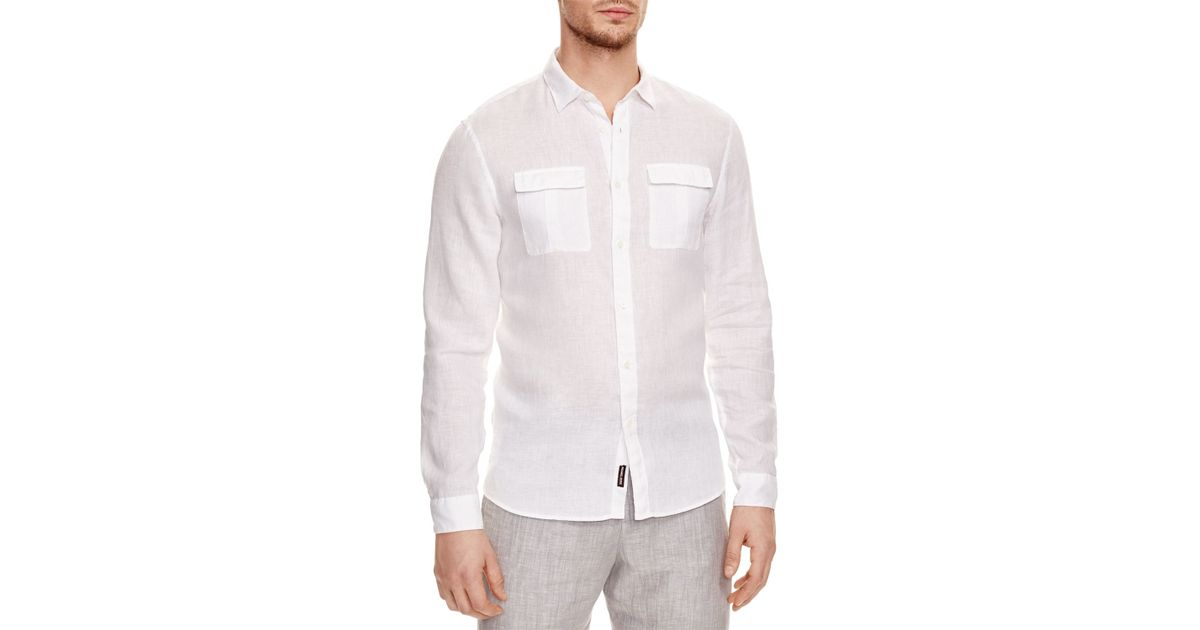 Michael kors linen slim fit button down shirt 100 for Slim fit white linen shirt