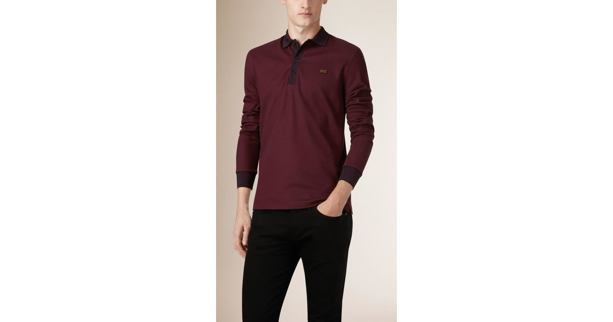 Burberry Long Sleeved Cotton Piqu Polo Shirt In Brown For
