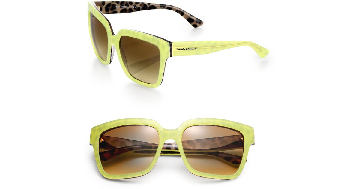 e404042a7ba9 Dolce & Gabbana Leopard Print-Trimmed 57Mm Square Sunglasses in Yellow for  Men - Lyst