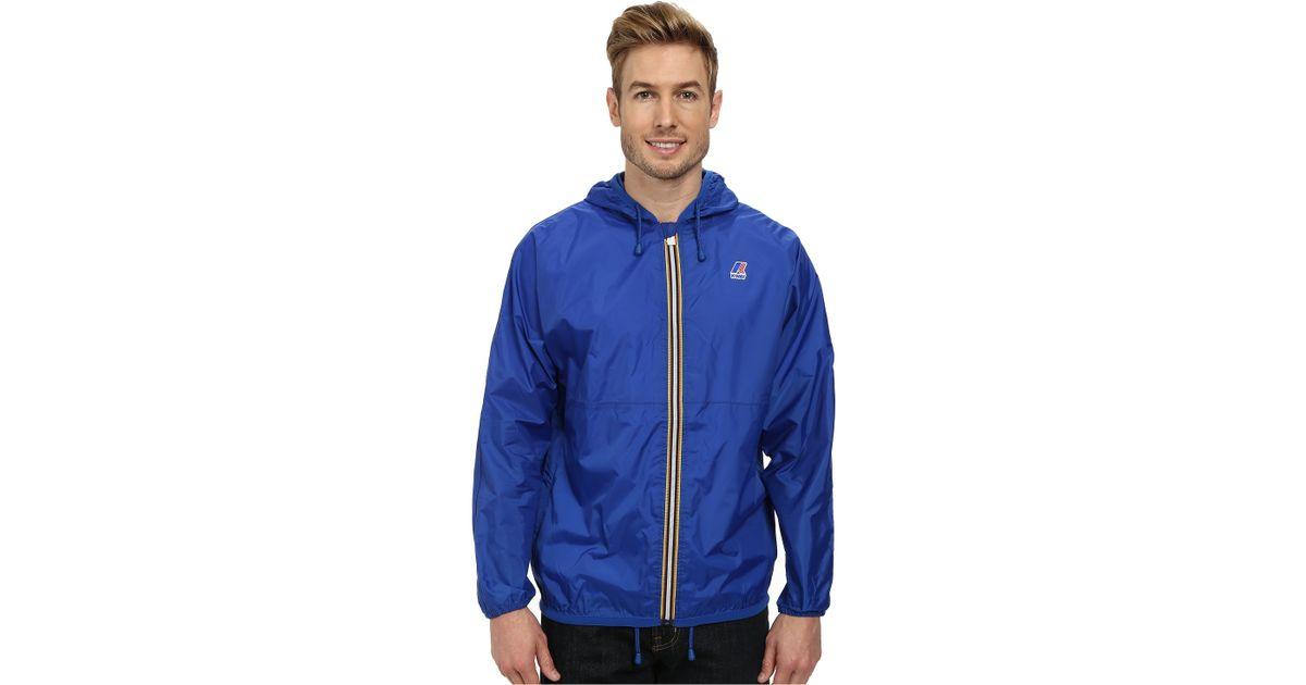 k way claude klassic waterproof jacket w hood in blue for men lyst. Black Bedroom Furniture Sets. Home Design Ideas