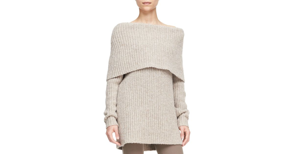 Michael Kors Off The Shoulder Cowl Neck Sweater In Natural Lyst