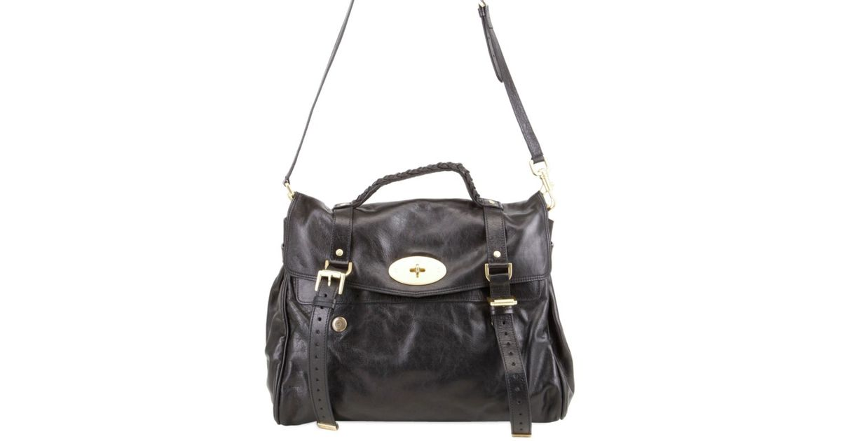 5d5c9923a8ba sale lyst mulberry oversized alexa leather bag in black 03df4 cfcfb