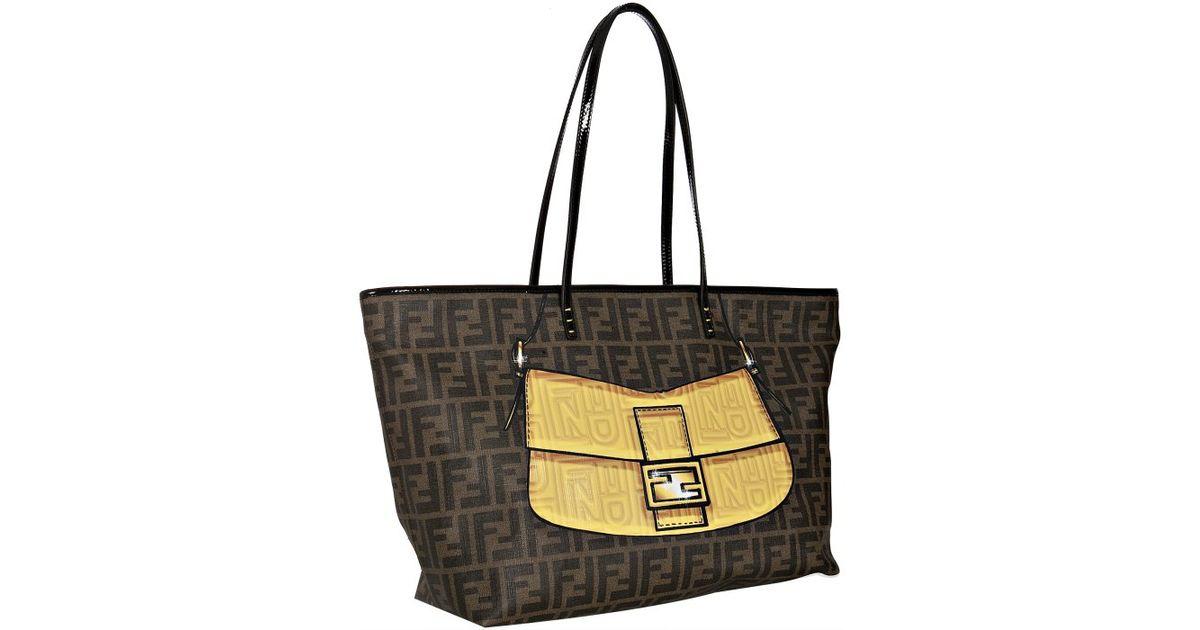 c710b366beac ... where to buy lyst fendi black patent trim zucca spalmati yellow handbag  large tote in brown ...