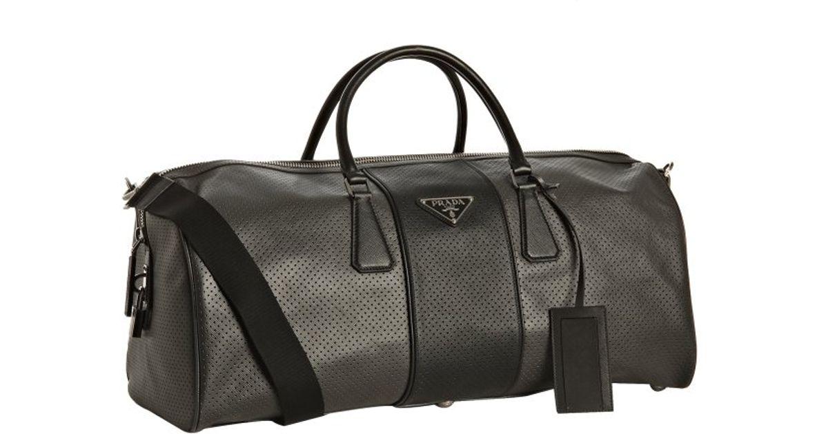 5a745cfc7443 Prada Anthracite Perforated Saffiano Stripe Duffel Bag in Gray - Lyst