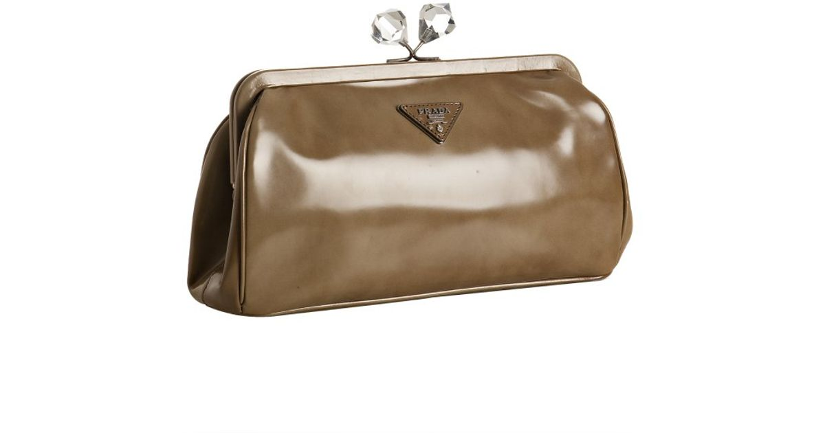 Prada Khak Faded Leather Crystal Kisslock Clutch in Brown (khaki ...