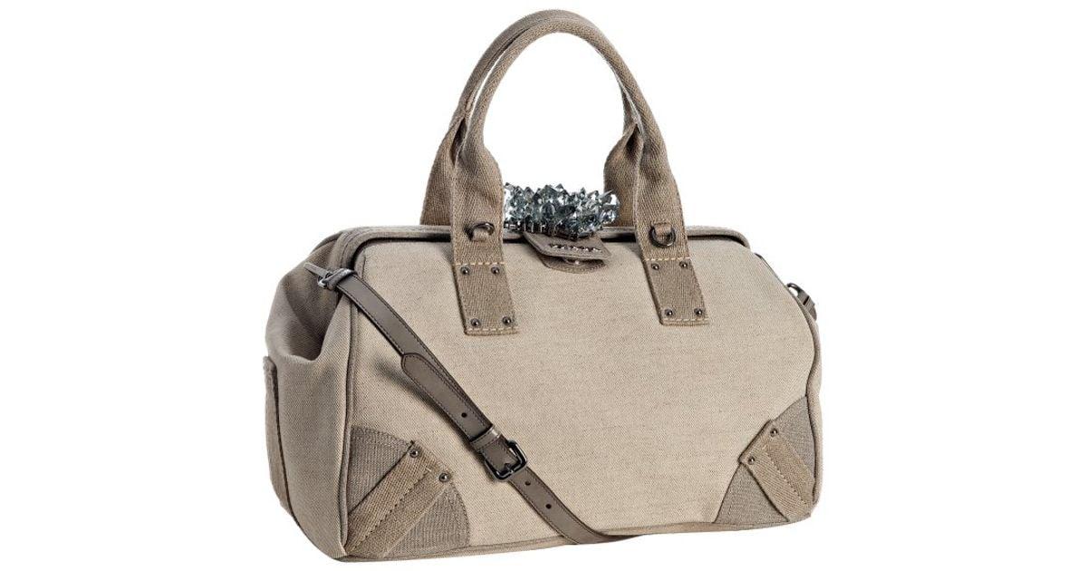 prada beige linen handbag