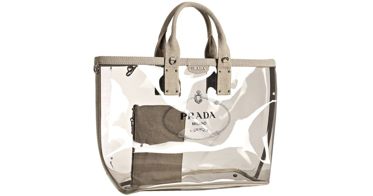 da7c7ba6d5bf ... promo code for lyst prada smoke pvc and linen logo large tote in gray  935d7 3c956