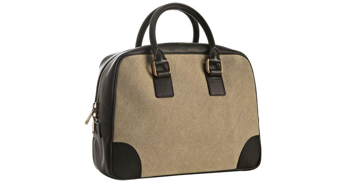 celine black leather luggage bag - celine khaki satchel