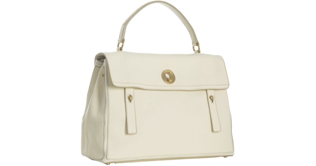 Lyst - Saint Laurent Ivory Leather Muse Two Medium Bag in White 277ca43b8ad