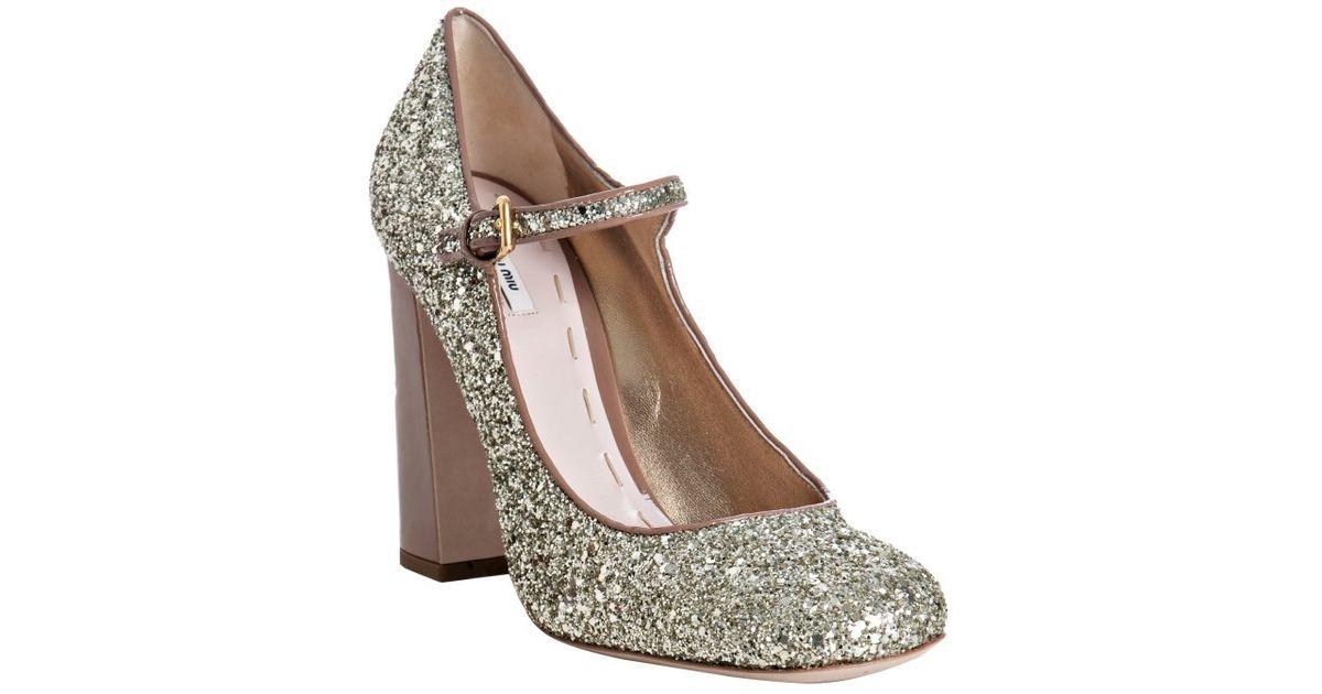 ab57c695e44 Lyst - Miu Miu Camel Patent Glitter Mary-jane Pumps in Metallic