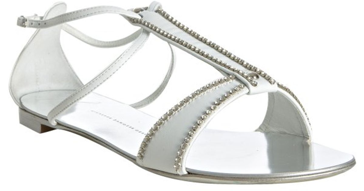 deecb889b0eb26 Lyst - Giuseppe Zanotti White Leather Jeweled T-strap Flat Sandals in White