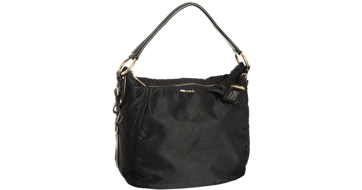 42dc1c40b2e3 ... closeout new zealand lyst prada black nylon logo jacquard hobo shoulder  bag in black d4784 4e858