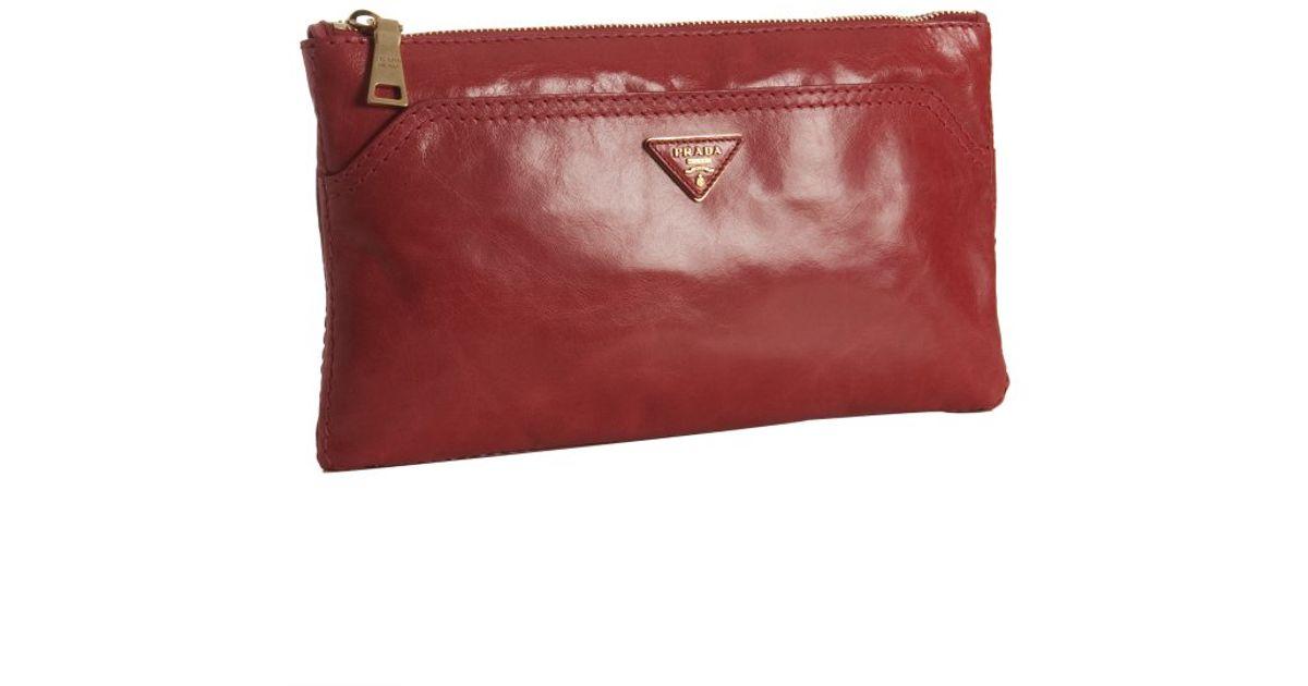 Prada Enamel Red Vitello Shine Leather Zip Clutch in Red (cherry ...