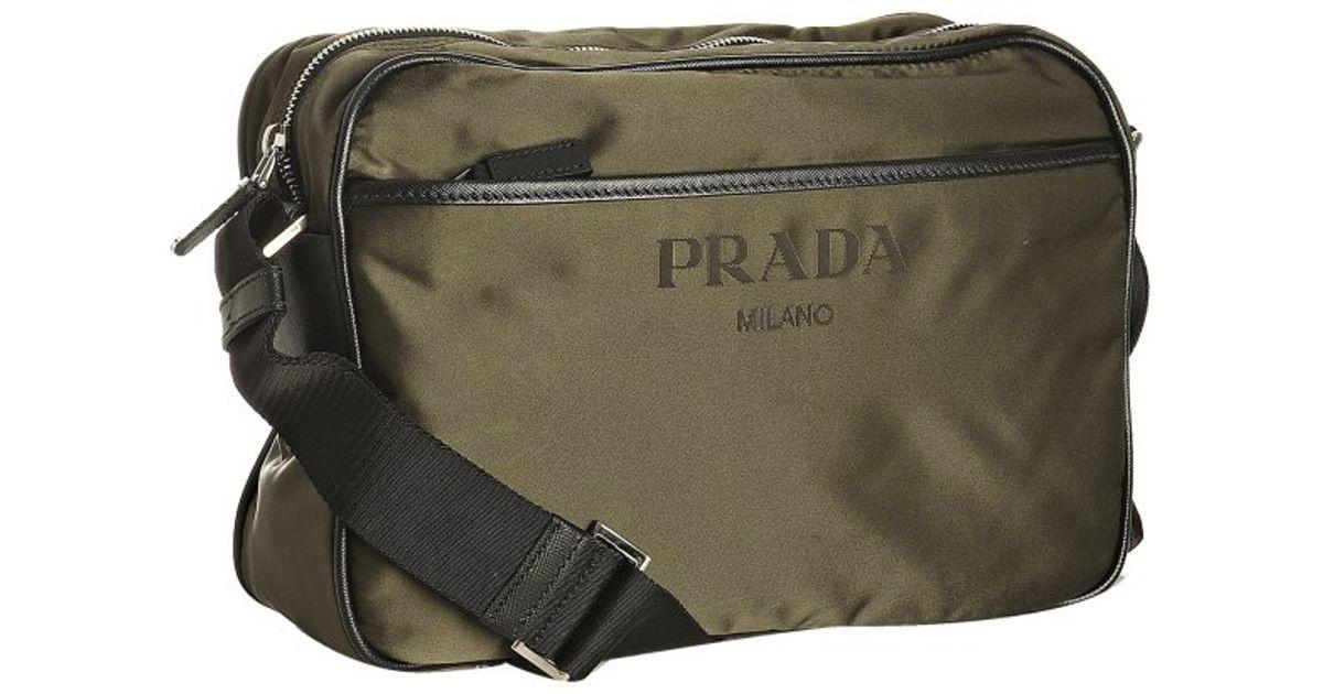 ... france lyst prada mimetic nylon logo jacquard zip messenger bag in  green 2a67d 28883 b477a973e3358