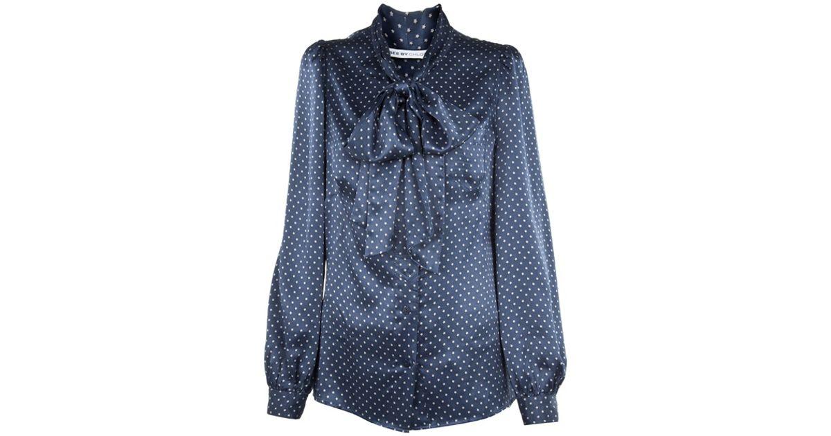 cbd6e94f721a56 See By Chloé Star Print Silk Blouse in Blue - Lyst