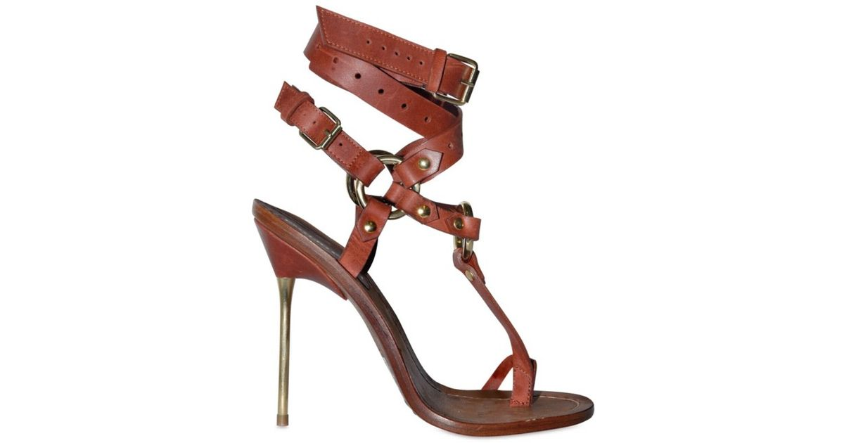 Cross Lyst Ankle In Criss Brown Pucci Thong Emilio Sandals 120mm QthCdsr