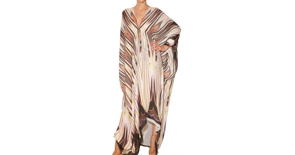 9826597edd Roberto Cavalli Printed Chiffon Kaftan Dress in White - Lyst