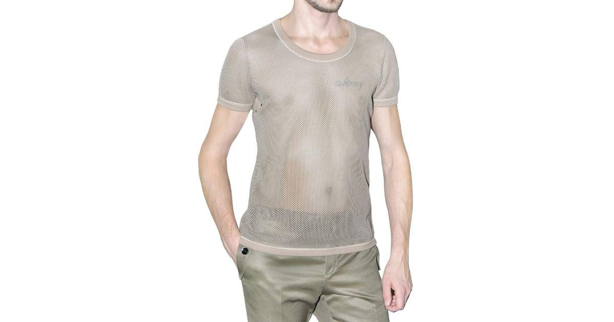 bd9d51abced875 Lyst - Burberry Prorsum Cotton Mesh T-shirt in Natural for Men