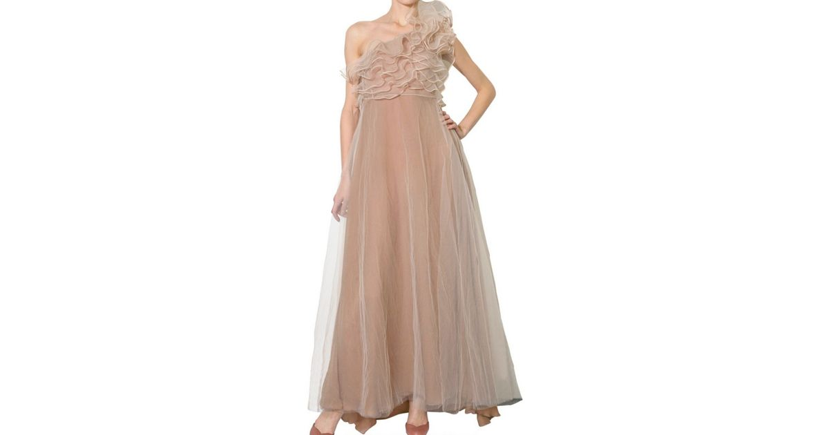 Lyst - Valentino One Shoulder Long Tulle Dress in Natural