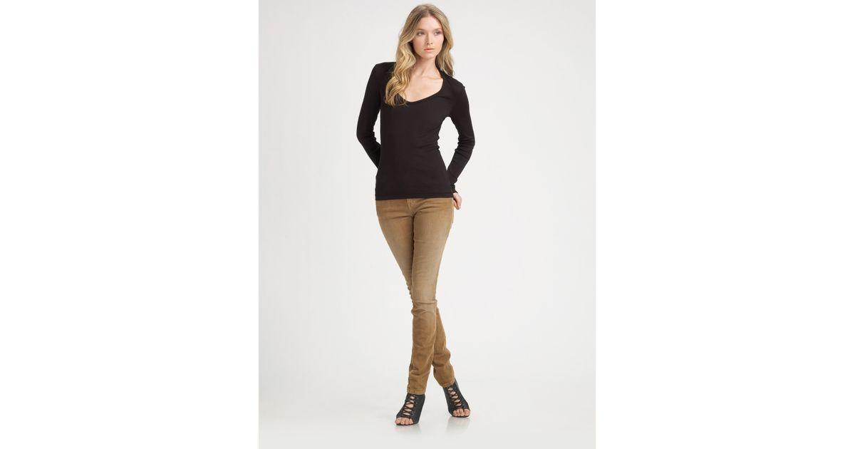 Current/elliott Skinny Corduroy Pants in Brown | Lyst