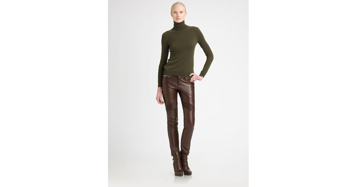 great look durable modeling classic style Ralph Lauren Black Label Brown Leather Moto Pants