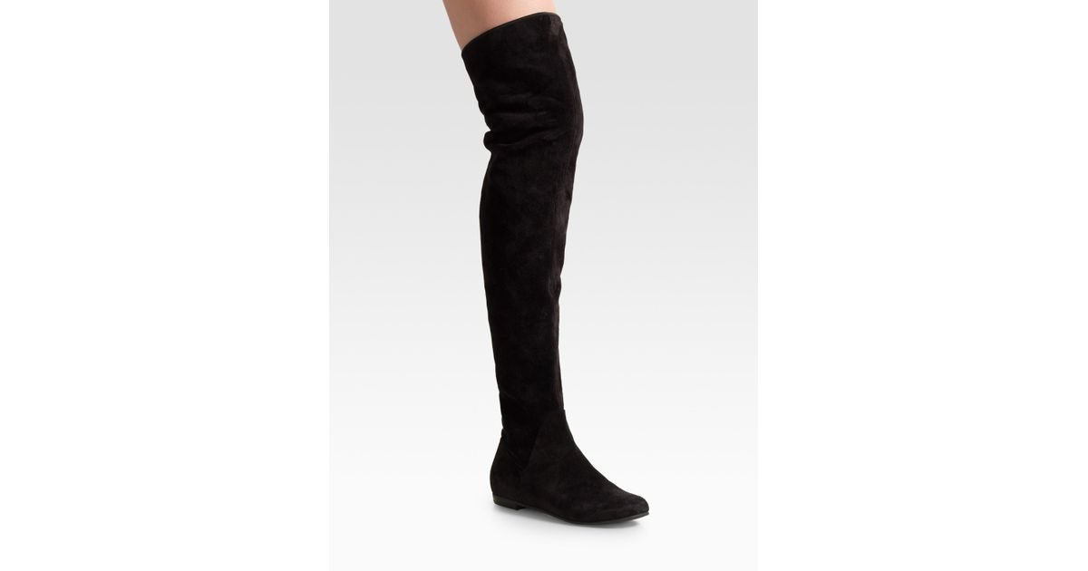 aafa72dfe56 Lyst - Giuseppe Zanotti Black Suede Over-the-knee Flat Boots in Black