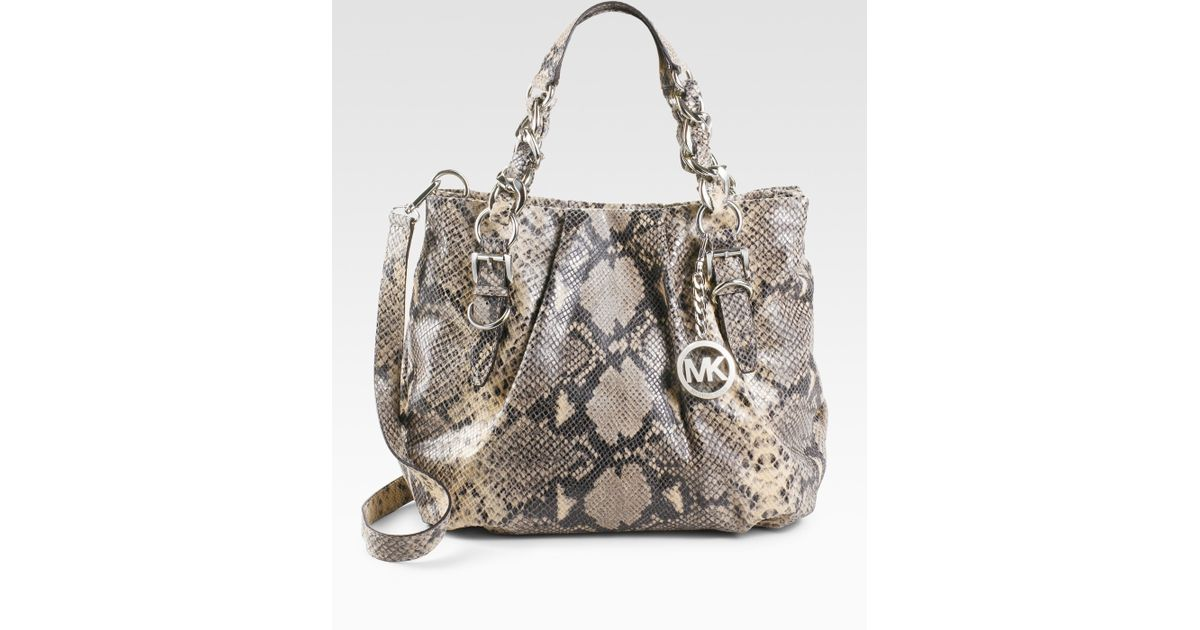 94b848e5954 Lyst - MICHAEL Michael Kors Embossed Python Leather Tote Bag in Natural