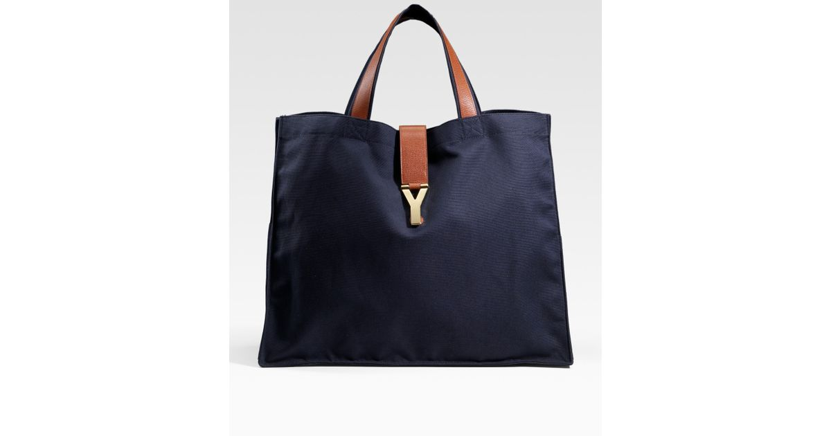 Lyst - Saint Laurent Y Large Canvas Shopping Tote in Blue dce6605269c9