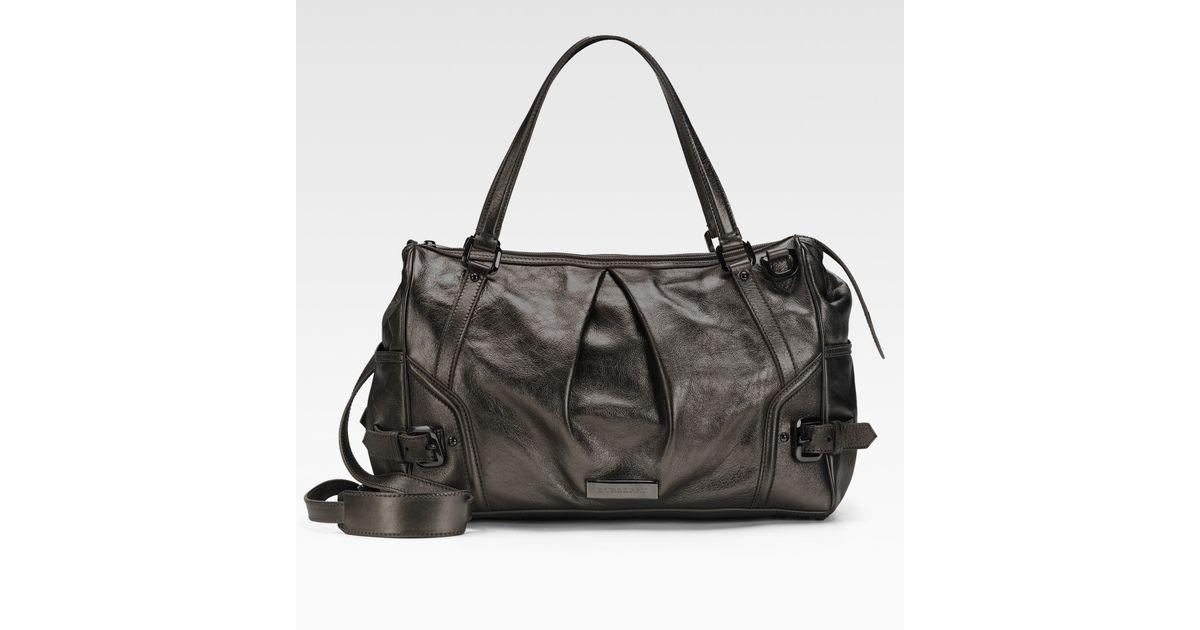 76db175717f6 Lyst - Burberry Metallic Leather Diaper Bag in Black