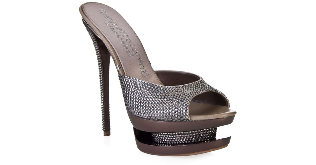 gianmarco lorenzi rhinestone embellished sandals in metallic lyst rh lyst co uk