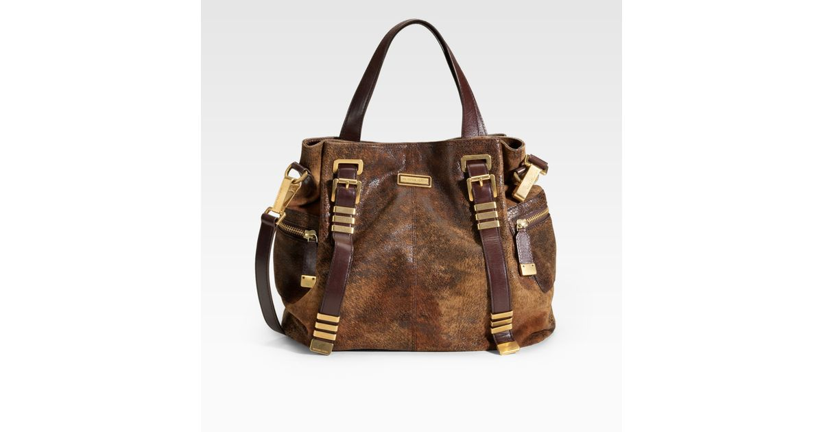 8f2565bccac4b Lyst - Michael Kors Darrington Distressed Calfskin Large Tote in Brown