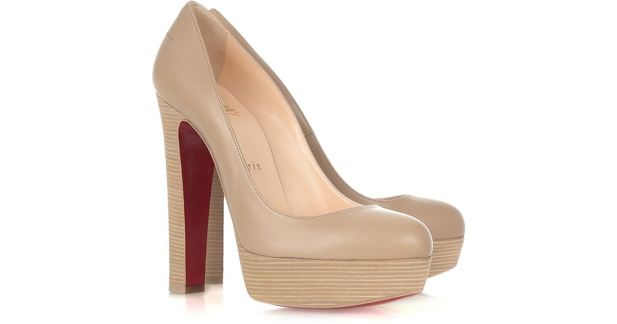 834b4a8cd93 Lyst - Christian Louboutin Bibi 140 Leather Pumps in Natural