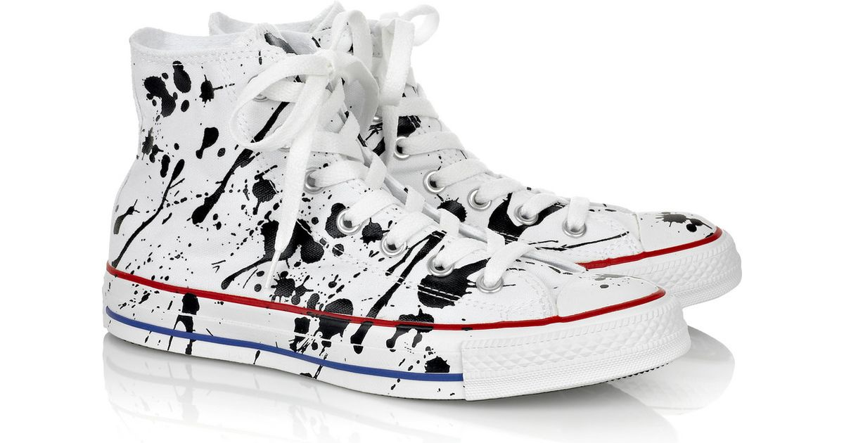9cf6c3ca5dade8 Converse Paint-splatter Canvas Hi-top Sneakers in White - Lyst