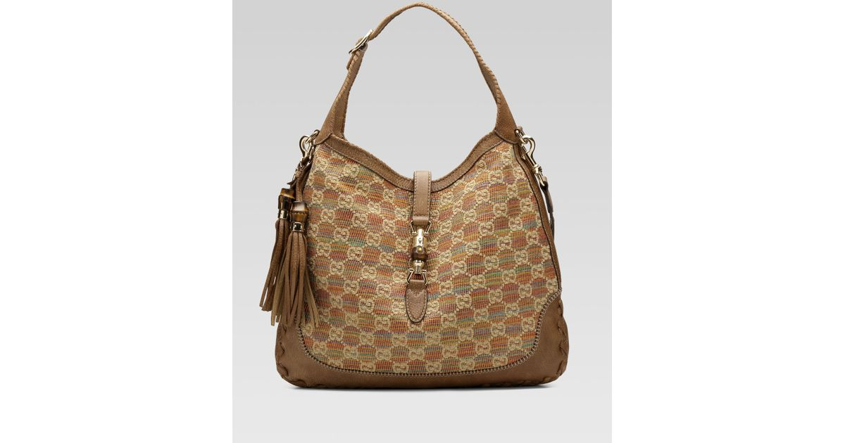 0e3060e4c728 Gucci New Jackie Large Shoulder Bag in Natural - Lyst