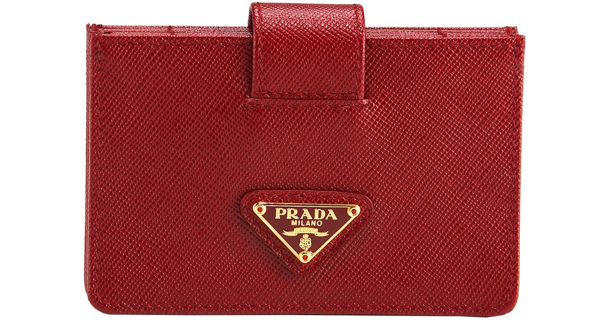 6a2bd6ec0948d4 Prada Saffiano Leather Accordion Card Case in Red - Lyst