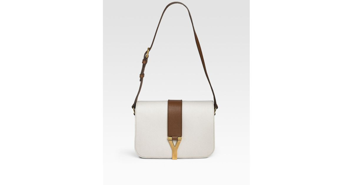 cheap ysl clutch - Saint laurent Chyc Canvas and Leather Flap Bag in White | Lyst