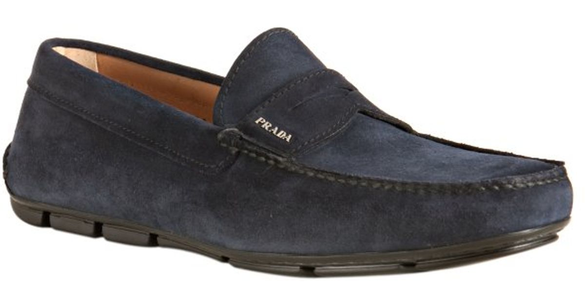 fe9b6519f8a ... coupon for lyst prada dark blue suede driving loafers in blue for men  e181f 552a5