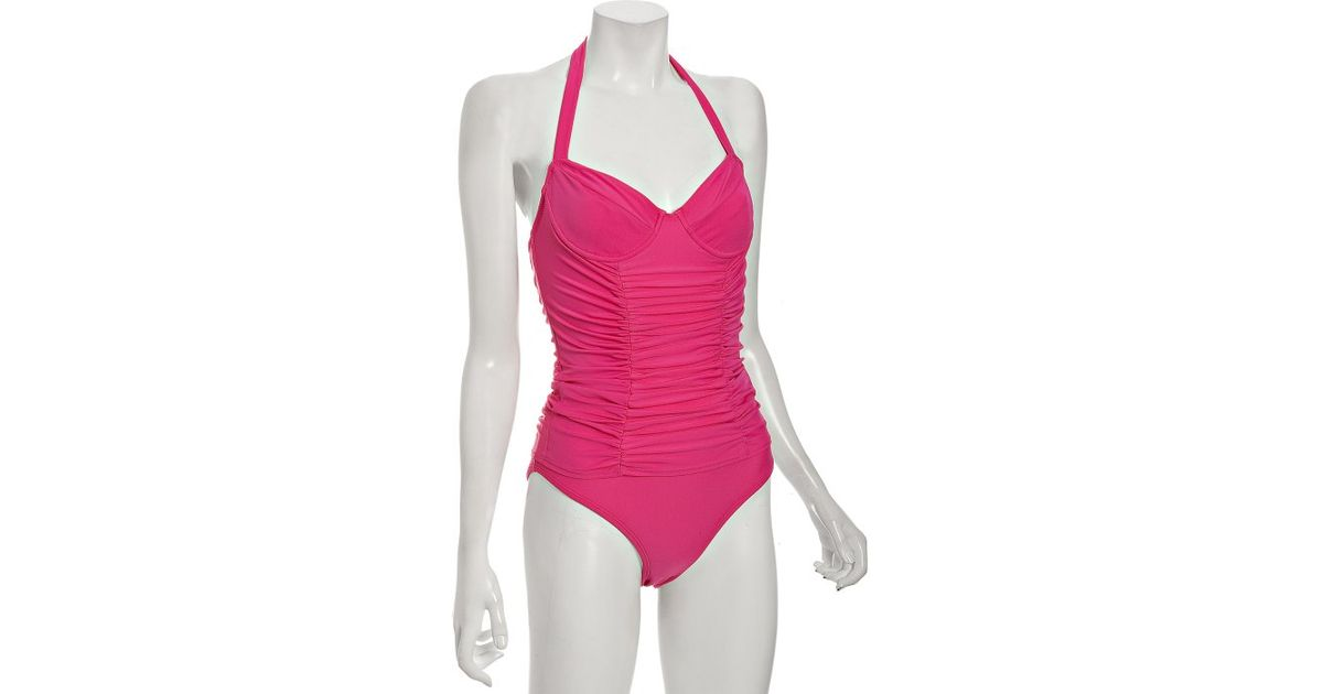 f3ca74e2829 Lyst - Shoshanna Fuschia Solid Ruched One Piece Halter Underwire Swimsuit  in Pink