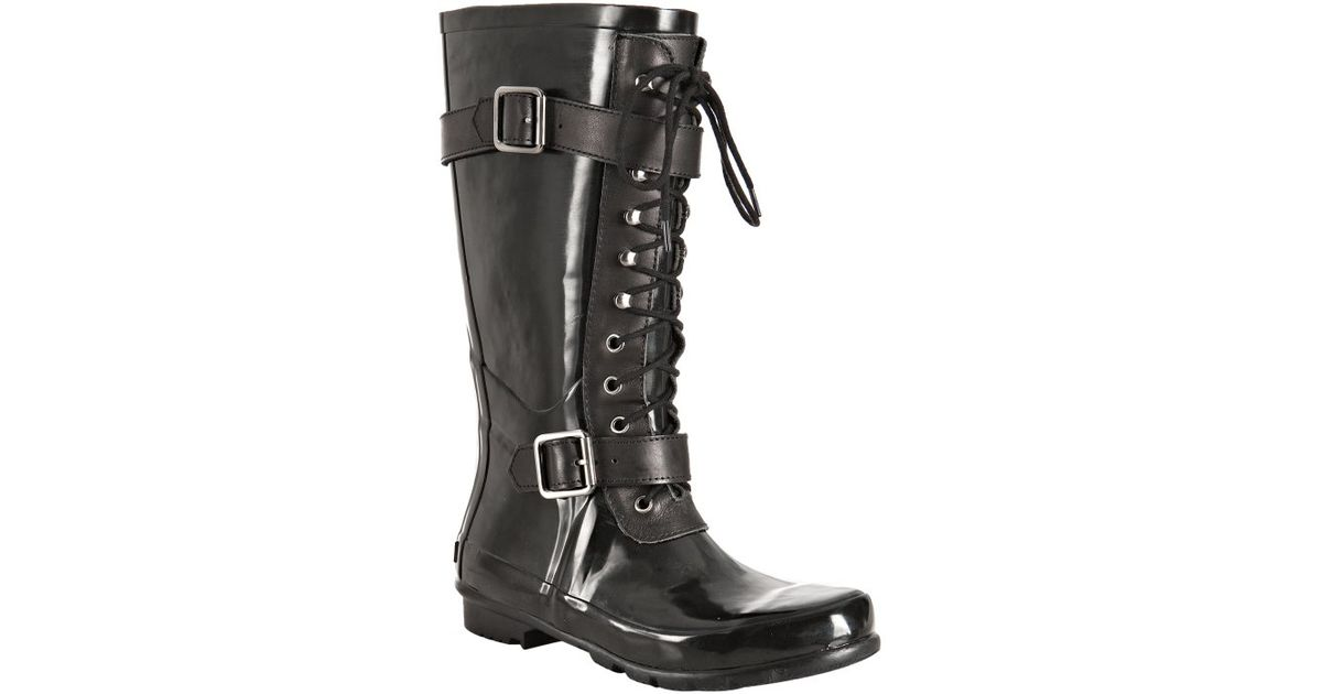 Bcbgmaxazria Black Rubber Willis Lace-up Rainboots in Black | Lyst