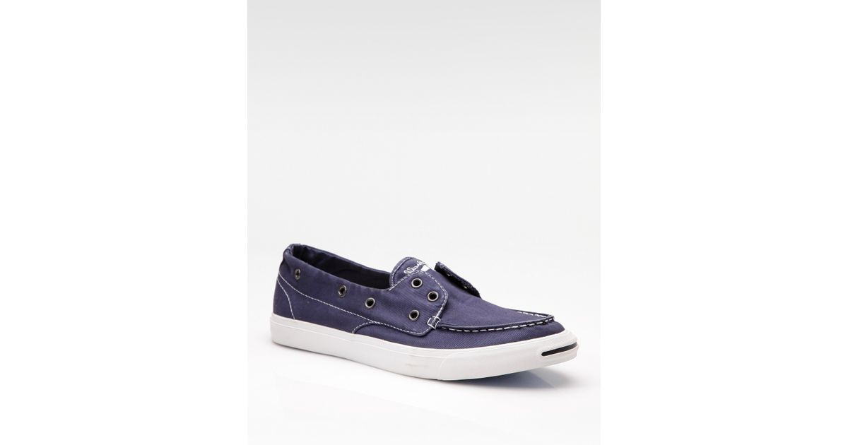 bb7b1829af2c Lyst - Converse Jack Purcell Twill Boat Shoes in Blue for Men
