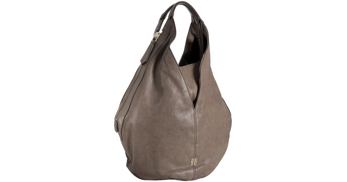 9ca2f290f7d9 Lyst - Givenchy Taupe Lambskin Leather Tinhan Hobo in Brown