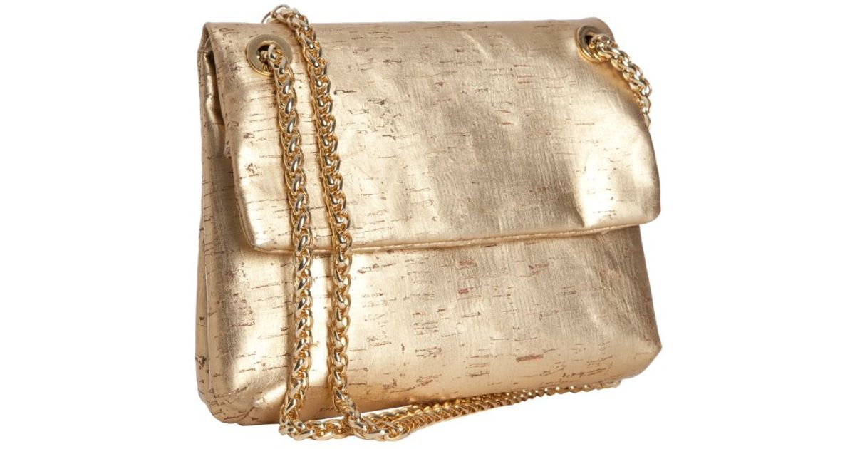 Lyst Elie Tahari Gold Metallic Cork Cynthia Chain Shoulder Bag In