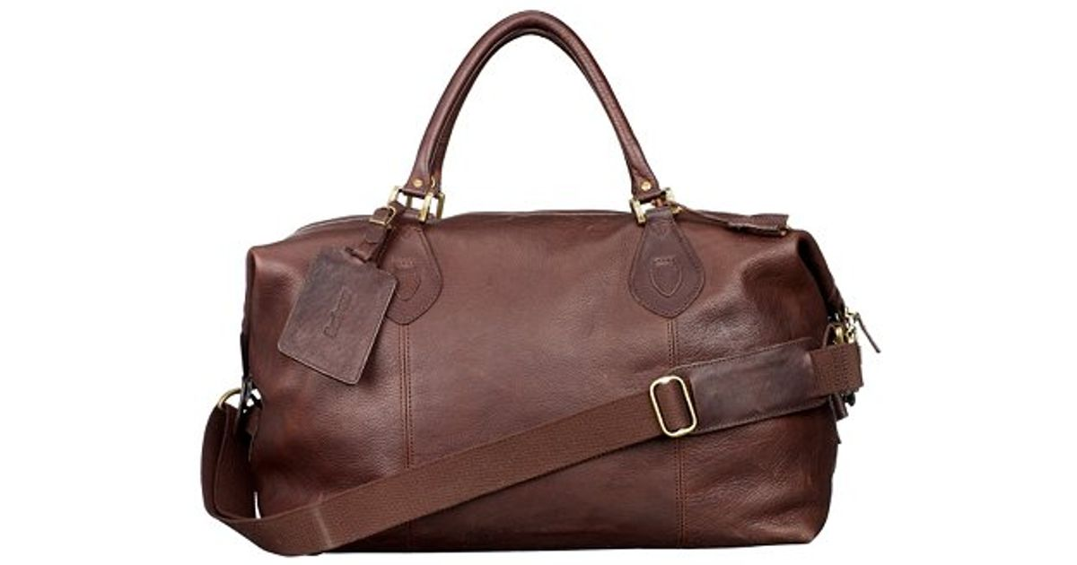 90a732b12ce Barbour Leather Travel Explorer Holdall in Brown - Lyst