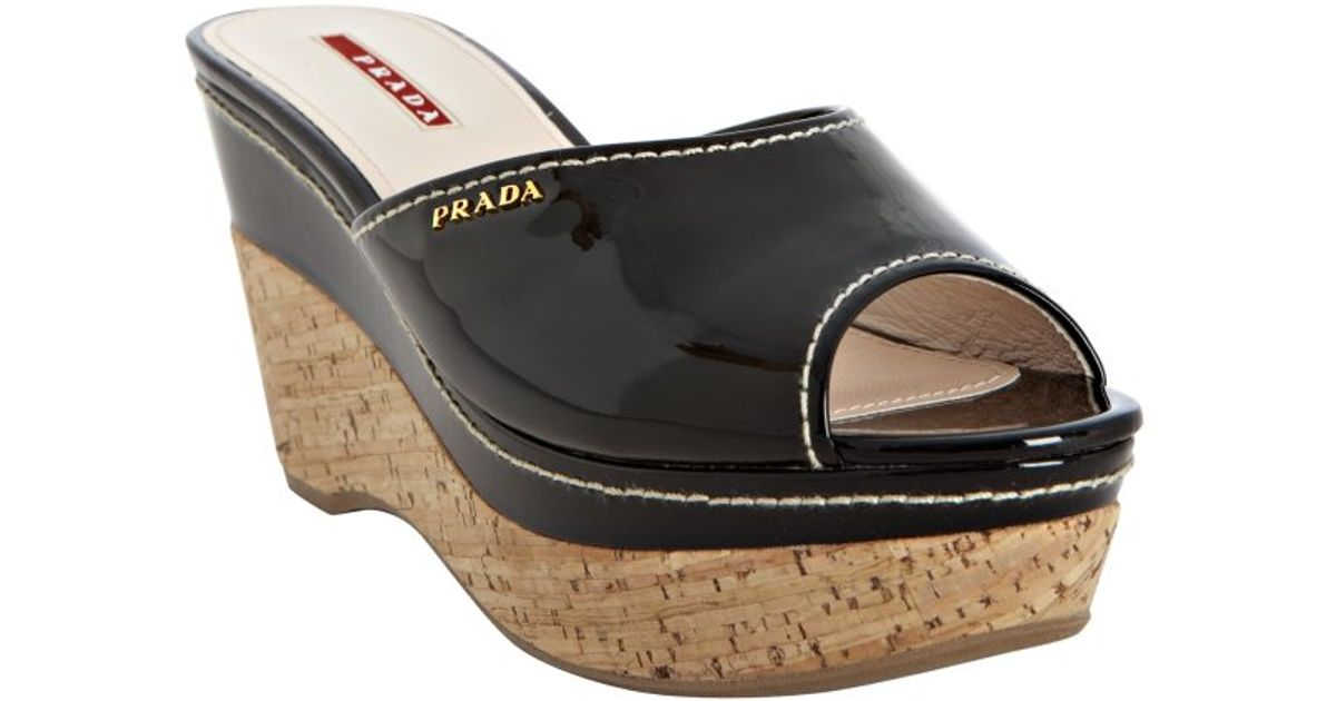 Prada Sport Patent Leather Slide Wedge Sandals buy cheap discount fashionable sale online outlet with credit card 7edDQJAX