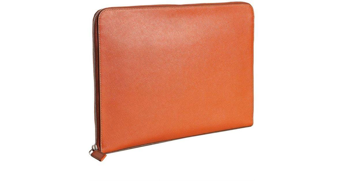 prada ostrich handbags - Prada Papaya Saffiano Leather Travel Portfolio Case in Orange for ...