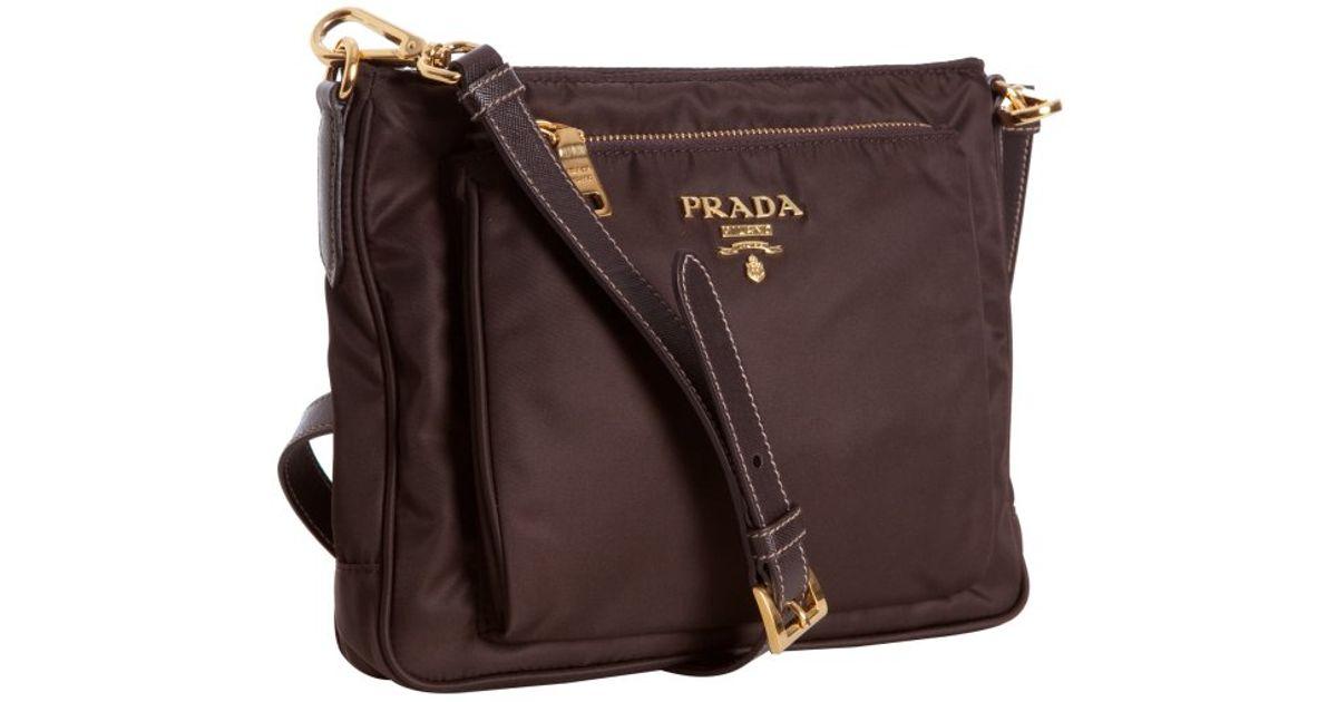 e5c884baea ... sweden lyst prada dark brown nylon zip front messenger bag in black  2bbc7 7ab06
