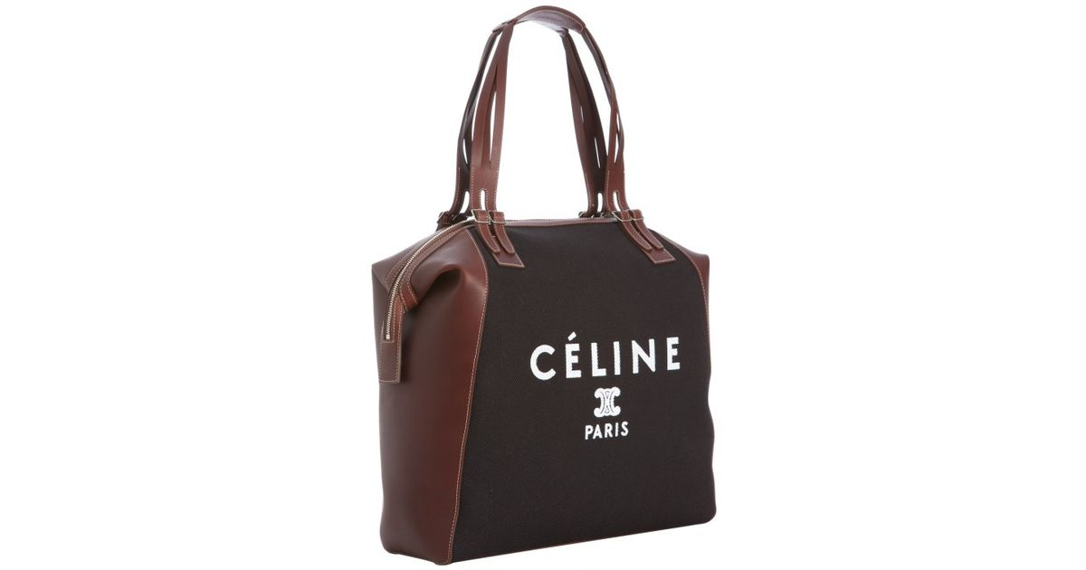 C¨¦line Black Canvas and Calfskin Vertical Logo Print Tote in Black ...